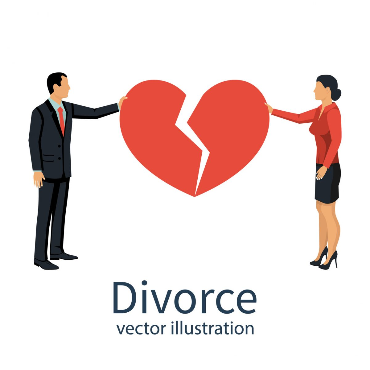 Divorce concept, and and woman hold broken heart and if you need a divorce attorney you will find one in Clinton Township, Michigan.