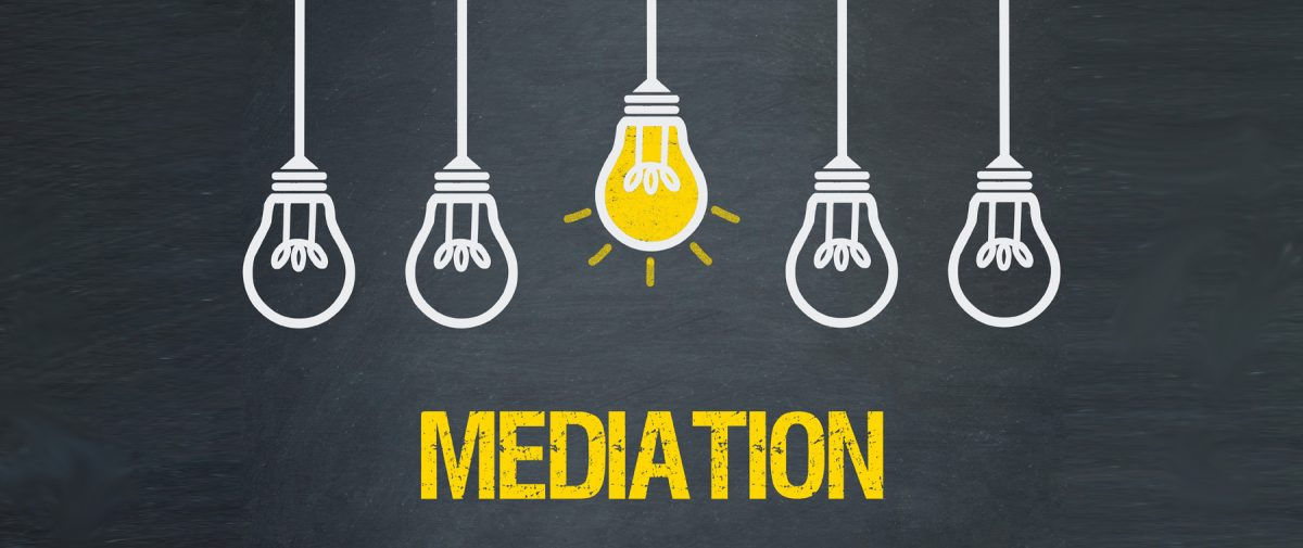 graphic with middle light bulb lit with mediation text, consult with our Bloomfield Divorce Lawyers for help with your mediation for your divorce.