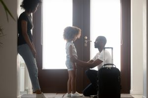 A dad saying goodbye to his daughter, for guidance with your child custody case meet with Family Law Firm Near Me.